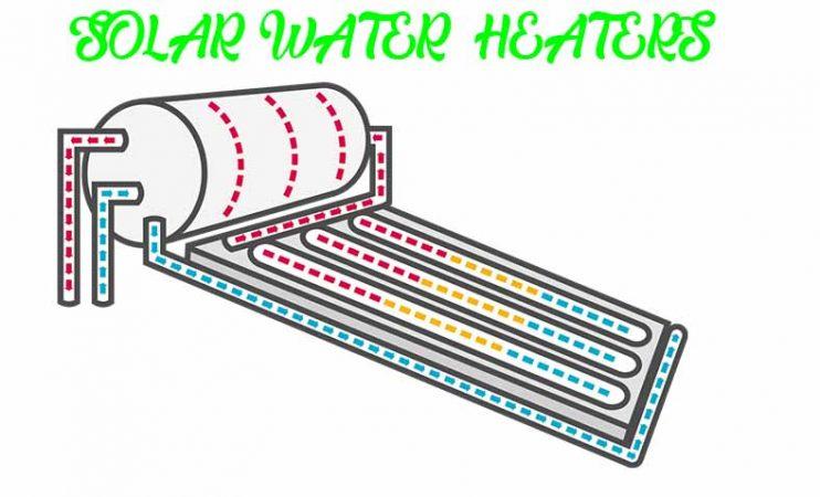 Solar water heater flow of heat diagram